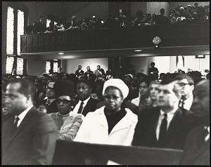 Image for Mr Isaac Farris Sr., Dr. King's brother-in-law and Dr. Benjamin Elijah Mays, president of Morehouse College, seated in audience