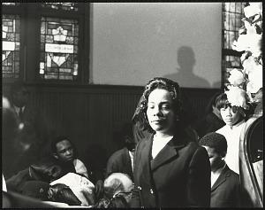 Image for A somber Mrs. Coretta Scott King entering into Ebenezer Baptist Church