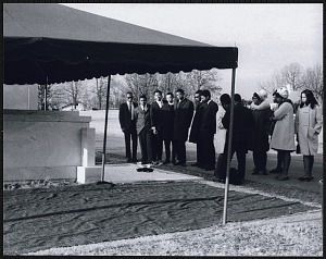 Image for Students from Clark College gathered around Dr. King's tomb at Southview Cemetery