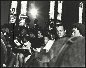 Image for Harry Belafonte Jr. seated with Mrs. Coretta Scott King and her children