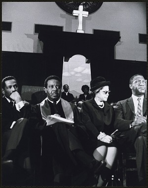 Image for Rosa Parks seated with Congressman John Conyers, Dr. Ralph David Abernathy and Mr. Cleveland Robinson