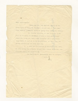 Image for Letter to Paula Baldwin from James Baldwin