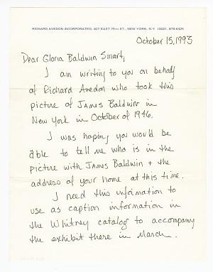 Image for Letter to Gloria Baldwin Karefa-Smart from Alexandra Truitt