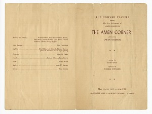"""Image for Program from the first performance of """"The Amen Corner"""""""