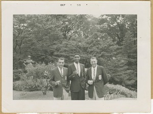 Image for Photograph of three members of the U.S. AAU Track and Field Team in Tokyo, Japan