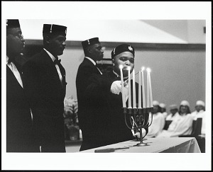 Image for Members of the King Frederick Consistory #38 Prince Hall Masons conduct a special Easter Sunrise Ceremony at Greater Middle Baptist Church, pastured by Rev. Benjamin L. Hooks, Memphis, Tennessee, 2005