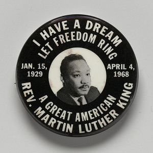 Image for Pinback button memorial depicting Martin Luther King, Jr.