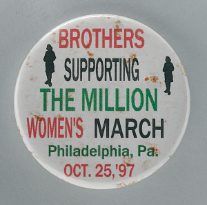"""Image for Pinback button for """"Brothers supporting the Million Women's March"""""""