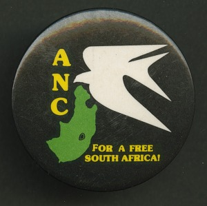 Image for Pinback button promoting the ANC and a free South Africa