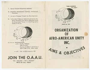 Image for Organization of Afro-American Unity Inc. Aims and Objectives