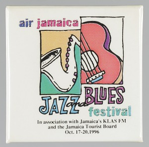 Image for Pinback button for Air Jamaica Jazz and Blues festival