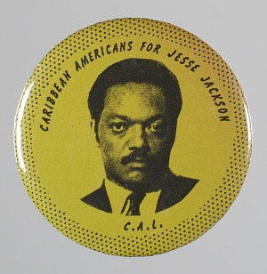 "Image for Pinback button reading ""Caribbean Americans for Jesse Jackson"""