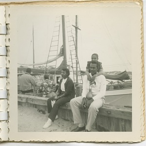 Image for Digital image of Taylor family members by a docked sailboat on Martha's Vineyard
