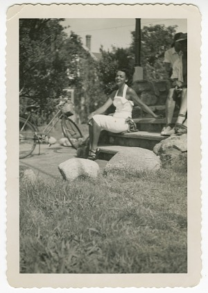 Image for Digital image of a young woman with a bicycle on Martha's Vineyard