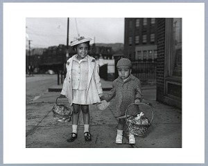 Image for Photographic print of Mary Elizabeth and William Lewis holding Easter baskets