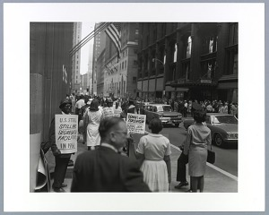 Image for Photographic print of steelworkers protesting in downtown Pittsburgh