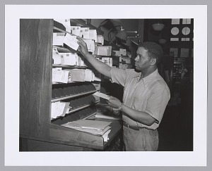 Image for Photographic print of a postal worker