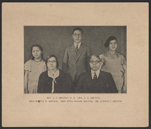 Image for Photo card of Rev. J. C. Melton with his wife Alian and their three children