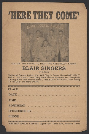 Image for Advertisement card for the Blair Gospel Singers
