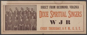 Image for Advertisement for the Dixie Spiritual Singers and a drawing of a boat