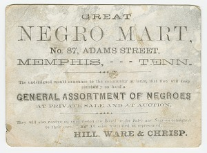 """Image for Advertisement card for the """"Great Negro Mart"""" in Memphis, Tennessee"""