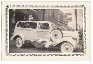 Image for Photographic print of damaged Jackson Funeral Home ambulance