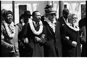 Image for Rev. Ralph Abernathy, Dr. Martin Luther King, Jr., Dr. Ralph Bunche, and Rabbi Abraham Heschel, Selma to Montgomery March