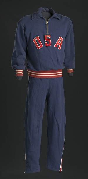 Image for Warm-up sweat suit for the 1952 Helsinki XV Olympics worn by Ted Corbitt