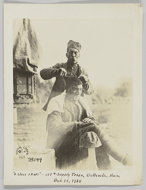 """Image for """"A close shave"""" - 317th Supply Train, Belleville, Meuse Oct. 12, 1918"""