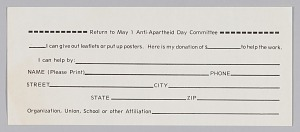 Image for Donation slip of the Anti- Apartheid Day Committee