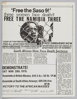 """Image for Flyer announcing """"free the Saso 9"""" protest"""