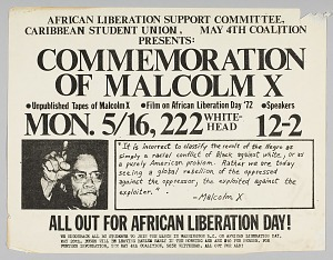 Image for Flyer advertising a commemoration of Malcolm X