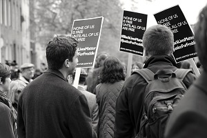 Image for Digital image of protesters with placards