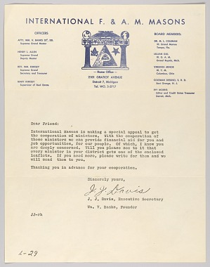 Image for Letter from J.J. Davis and the International F. & A. M. Masons