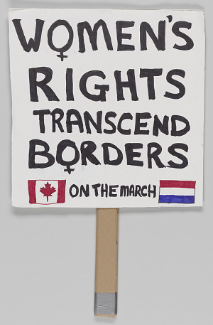 """Image for Sign from Women's March on Washington with """"Women's Rights Transcend Borders"""""""