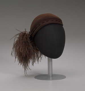 Image for Dark brown wool felt cap with ostrich plumes from Mae's Millinery Shop