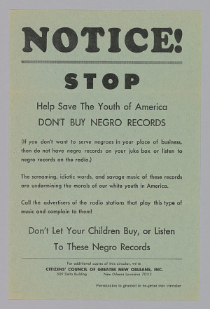 Image for Handbill from the Citizen's Council of Greater New Orleans, Inc.
