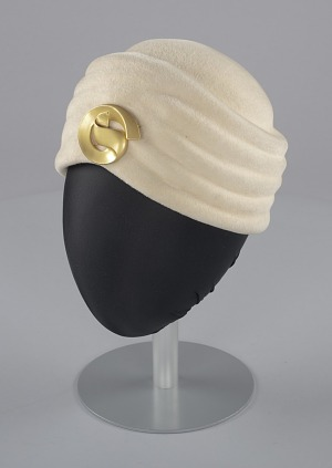 Image for Cream turban with gold decorative pin from Mae's Millinery Shop