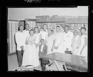 Image for Indoor Group Shot of Bride, Groom, Men, Women and Children