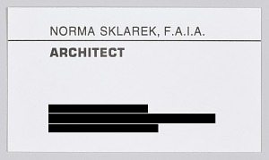 Image for Business card for architect Norma Merrick Sklarek, F.A.I.A.