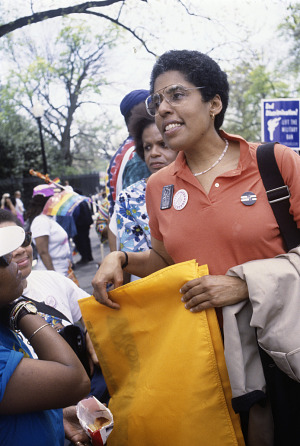 Image for Photographic slide of Barbara Smith at a National Gay Rights March