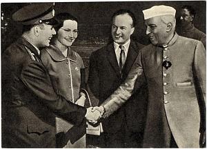 Yuri Gagarin meets Indian Prime Minister Jawaharlal Nehru.