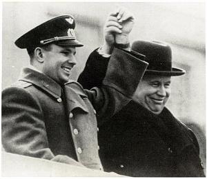 Gagarin and Nikita Khrushchev celebrate at Red Square.