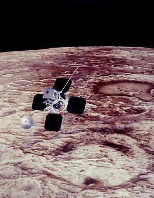 Illustration of Lunar Orbiter in Flight