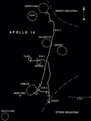 Apollo 16 Traverse Map