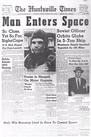 Newspaper clip for Yuri Gagarin