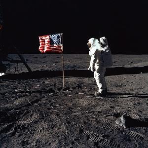 Apollo 11: Buzz Aldrin and the U.S. flag on the Moon