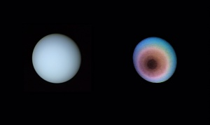 Uranus, towards the planet's pole of rotation