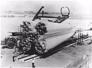The Vostok launch vehicle at the 1967 Paris Air Show.
