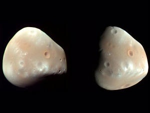 Two Views of Mars' Moon Deimos